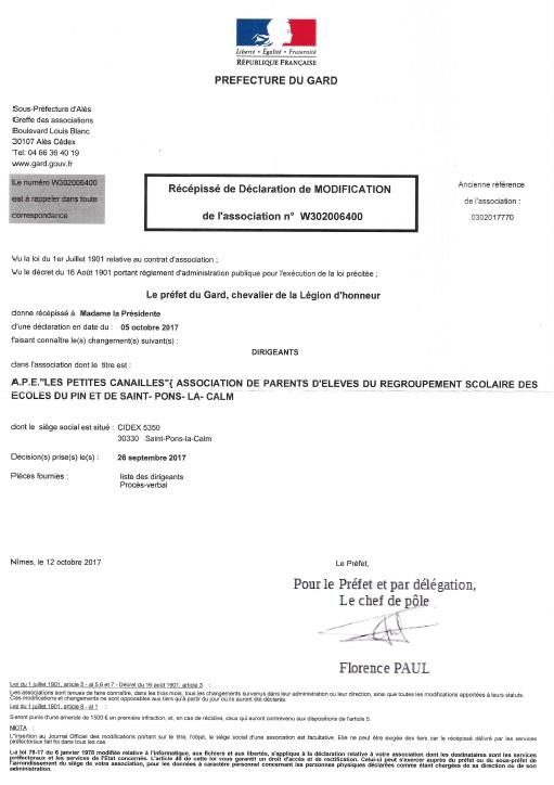 Déclaration préfectorale APE p'tites canailles