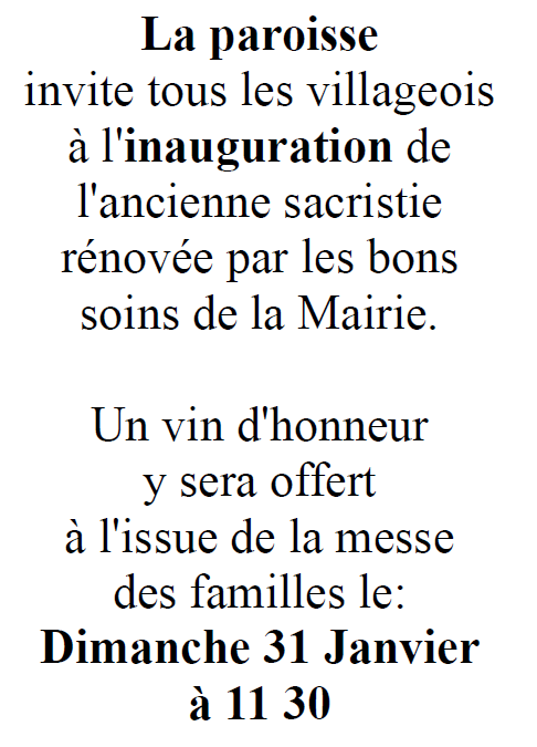 Inauguration sacristie